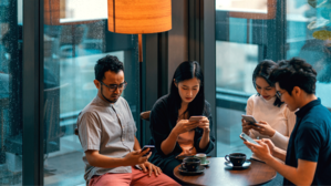 Employees on mobile devices