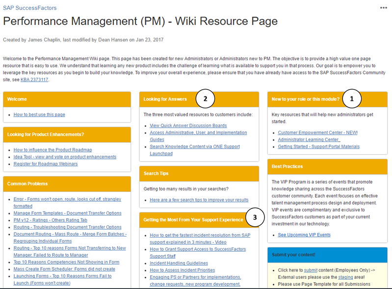 successfactors performance management wiki resource page