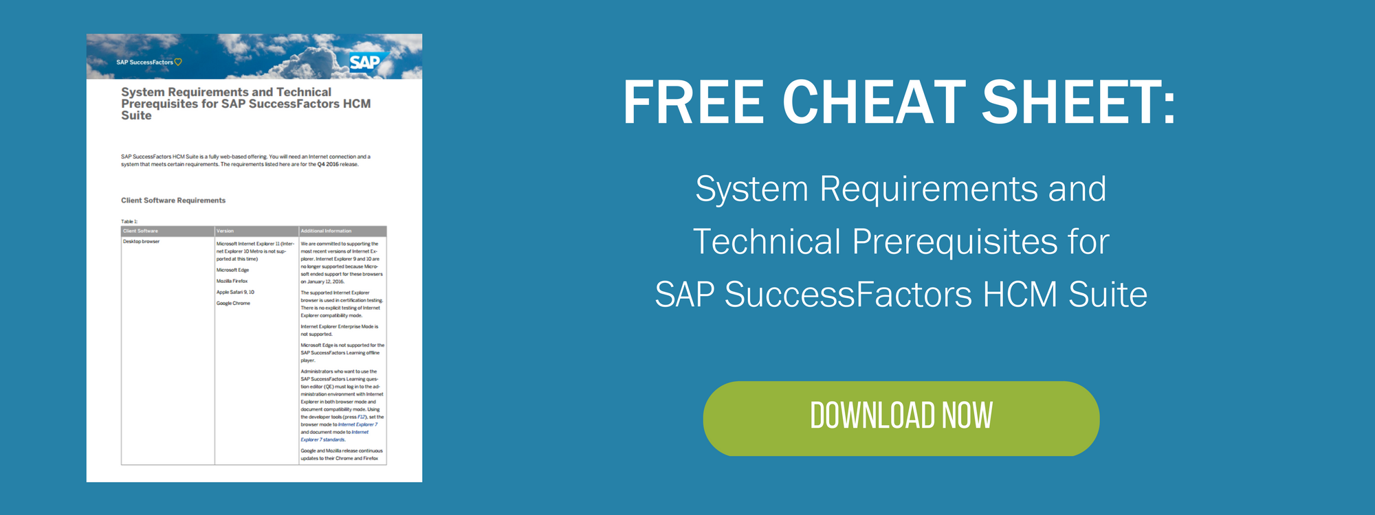 SAP SuccessFactors System Requirements Technical Prerequisites